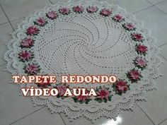 """Tapete Redondo em Crochê """"Flor Cata Vento Crespa"""" - YouTube"""