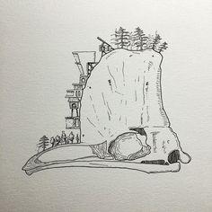 Cassowary skull #islandofskulls #art #originalart #skull #cassowary #cliff #ink #uwastudents by torigorham