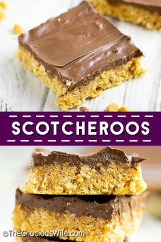 Easy no bake Scotcheroos are chewy sweet cereal bars with bold flavors like peanut butter chocolate and butterscotch all in one decadent treat! This is the BEST recipe. They turn out so soft and gooey! Plus video! No Bake Desserts, Easy Desserts, Delicious Desserts, Dessert Recipes, Bar Recipes, Family Recipes, Yummy Treats, Sweet Treats, Snack Recipes