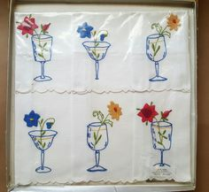 Vintage Cocktail Napkins. Madeira Embroidered Applique. Novelty Bar Glasses Flowers Unused In Package by RecyclingTheBlues on Etsy