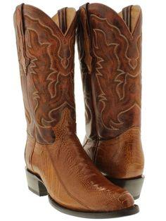 Men's cognac brown genuine exotic ostrich leg skin cowboy boots western rodeo  #CowboyPro #CowboyWestern