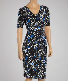 Loving this Jessica Howard Royal Blue & Black Drape Dress on #zulily! #zulilyfinds