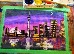 Pastel Resist Night Skyline