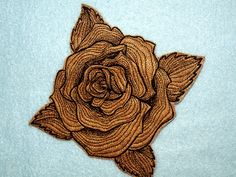 Cowhide Leather Engraved Rose Iron on Patch by GerriTullis on Etsy Pin And Patches, Iron On Patches, Leather Engraving, Recycled Fabric, Cowhide Leather, Sweet 16, Machine Embroidery, Embellishments, Up