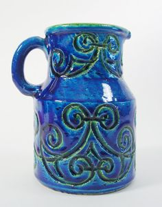 Pottery Pitcher, Made in Italy. Hand-thrown and Incised. Mid Century Modern Rimini Blu Italian Pottery.