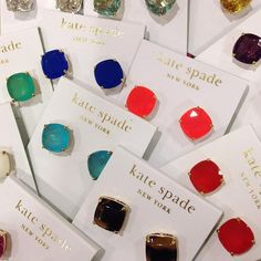 Cannot even explain how much I love these simple candy-colored delicious gems!!! kate spade new york small square stud earrings | Nordstrom