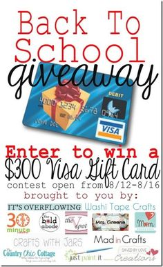 Enter to win $300! (yes I'm pinning this on Just Paint It because doesn't back-to-school involve paint?)