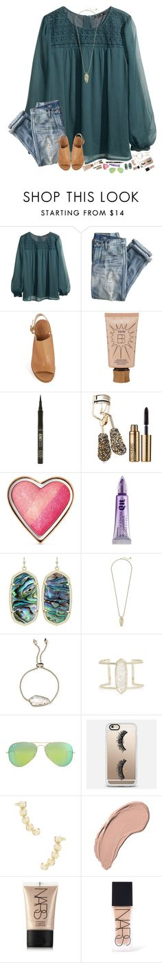 """It's Friday!!"" by hopemarlee ❤ liked on Polyvore featuring H&M, J.Crew, Kate Spade, tarte, Too Faced Cosmetics, Urban Decay, Kendra Scott, Ray-Ban, Casetify and NYX"