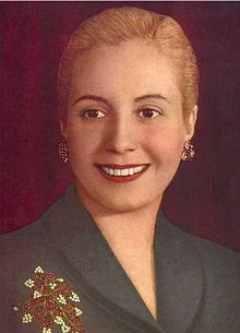 María Eva Duarte de Perón (7 May 1919 – 26 July 1952) was the second wife of Argentine President Juan Perón (1895–1974) and served as the First Lady of Argentina from 1946 until her death in 1952.