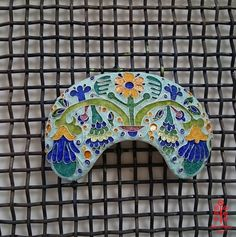 Based on the ceramic decorations of Poltava Local Lore Museum, hot enamel before firing, photo and colour solution: smallthingscount
