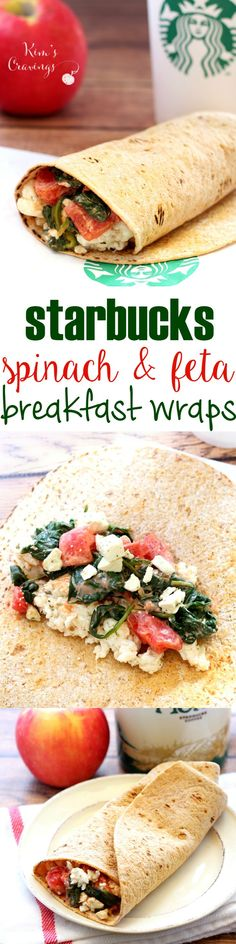 Starbucks Spinach & Feta Breakfast Wraps are my grab-n-go meal choice when I'm out and need to pick-up a quick bite. I love them so much, I had to create a healthier version that's just as flavorful and satisfying as the Starbucks wrap.