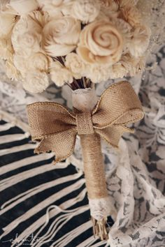 Beautiful paper bouquet with burlap detailing from @Lucy Pray's wedding