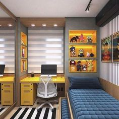 Boy's bedroom ideas and decor inspiration; from kids to teens Boy's bedroom ideas and decor inspiration; from kids to teens for teens Boy's bedroom ideas and decor inspiration; Cozy Small Bedrooms, Small Bedroom Designs, Small Room Bedroom, Trendy Bedroom, Cozy Bedroom, Small Rooms, Modern Bedroom, Bedroom Storage, Small Spaces