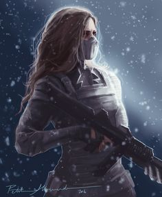"""petiteallemande: """" Winter Soldier Peggy Digital Painting """" - Visit to grab an amazing super hero shirt now on s Marvel Fan, Marvel Avengers, Marvel Comics, Marvel Memes, Winter Soldier Mask, Outdoor Fotografie, The Dark Side, Fantasy Character, Character Art"""