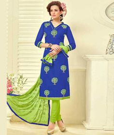 Buy Blue Cambric Cotton Churidar Suit 77843 online at lowest price from huge collection of salwar kameez at Indianclothstore.com.