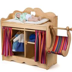 Natural Wooden Dolly's Changing Table Elves and Angels (4)