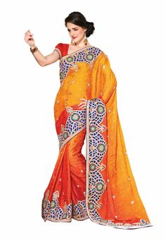Fabdeal Yellow & Orange Colored Jacquard Embroidered Saree