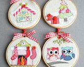 Set of Four Embroidery hoop Christmas Tree Baubles