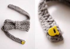 How to crochet a bow tie - Mollie Makes Great step by step w/ pictures. Love the strap and button closure.