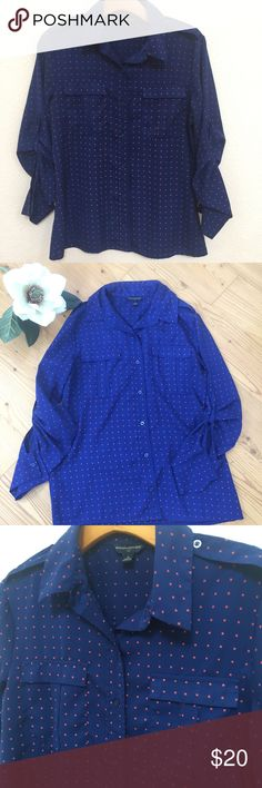 Banana Republic Blouse Sz M Pre owned, good condition , blue with red design, length 25, chest 19. Banana Republic Tops Blouses