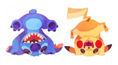 Quand les personnages de Disney posent avec des Pokémon - Stitch et Pikachu