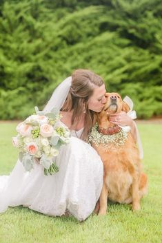 A Beautiful Navy and Peach Wedding with Understated Elegance - - Simple, yet elegant flowers with peach wedding colors, a romantic gown, and a cross built by the groom's father created a beautiful outdoor ceremony. Dog Wedding, Wedding Pictures, Dream Wedding, Wedding Day, Wedding Dreams, Navy Peach Wedding, Peach Wedding Colors, Romantic Wedding Receptions, Romantic Weddings
