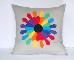 Gray Pillow Cover/ Grey Cushion Cover  with Rainbow Flower Kids Room Pillow Decorative Pillow Etsy Cushion Covers for kids Appliqued pillow