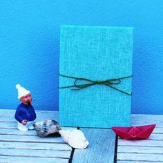 Notizbuch mit einem zart türkis Leinenkrepp bezogen