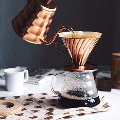 Rainy Wednesdays feels better with Hario Copper Dripper / Kettle.  Find the coffee equipment that brings a smile to your face at www.kurasu.me