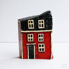 Row House Hand Painted Rock – Whink Inc. Stone Painting, House Painting, Rock Painting, House On The Rock, Hand Painted Rocks, Country Primitive, Fairy Houses, Newfoundland, Whimsical Art