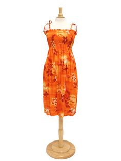 Two Palms Summer Dress TP 609R [Moonlight Scenic/Orange]  for Hawaiian Luau Party and Tropical Vacation! Free Shipping from Hawaii!