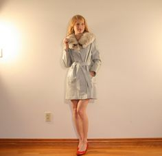 Vintage 60s Coat  Gray Leather Fox Fur Collar by RubyChicBoutique, $98.00