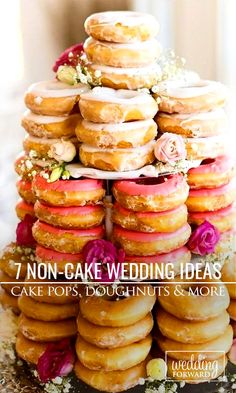 While cake has always been the traditional dessert at weddings, lately more and more couples are choosing non-cake ideas for their sweet needs ❤ See more: http://www.weddingforward.com/unique-non-cake-wedding-cake-ideas/