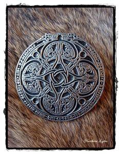 Norse Dragon Runic Cloak Pin - Viking - Runes. $35.00, via Etsy.