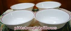 4  Corelle  Maroon/Brown  Ring/ Band  Cereal by pittsburgh4pillows