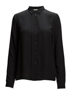 DAY - Day Fan-Front button placket black shirt Pleat details Button cuffs Small point collar Silk is a naturally lightweight fiber that creates a lustrous finish. Elegant and feminine Sophisticated Timeless Point Collar, Front Button, Cuffs, Fiber, Feminine, It Is Finished, Fan, Shirt Dress, Silk