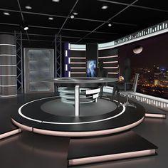 3d model virtual news set 006
