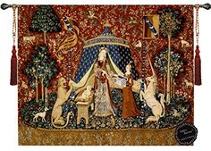 Desirethe Lady and the Unicorn Medieval Jacquard Woven 64w X 55l Wall Hanging Tapestry Gold fleece brand 100 Cotton Full Backingcolor Is Beige A Pair of Decorative Designers Extra Heavy Long Tassels 2499valuerod Is Not Included By Decor Plus * You can get more details by clicking on the image.