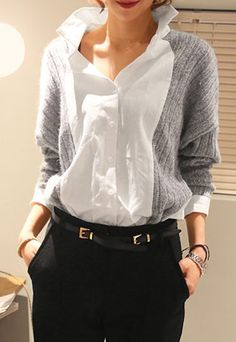Mock Two Piece Shirt Long Sleeve Knit Sweater Top Blouse