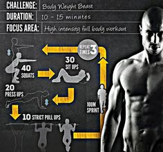 Body Weight Beast: 40 squats, 30 sit ups, 20 push ups, 10 pull ups, 100 m sprint -> repeat 3 times