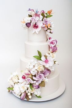 wedding cakes with cascading colorful flowers | Cascading Flowers