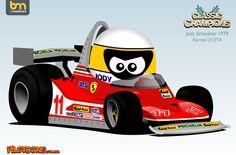 Scheckter Formula 1, Jody Scheckter, Michael Schumacher, Car Posters, F 1, Motogp, Cartoon Styles, Le Mans, Ferrari