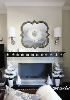 Deck the halls snowflake garland - beautiful winter fireplace mantel