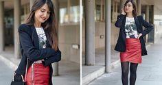 Cómo combinar una falda efecto cuero roja en un look cómodo y formal