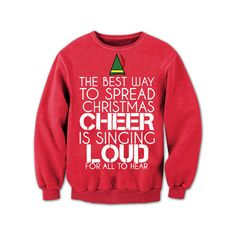 Funny Christmas Sweater Buddy-the-Elf Buddy the Elf Shirt Funny... ($20) ❤ liked on Polyvore featuring tops, grey, women's clothing, unisex shirts, christmas party tops, holiday shirts, party shirts and cotton shirts