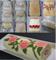Swiss Roll with Roses and Strawberries Cake Roll Recipes, Dessert Recipes, Bolo Original, Swiss Roll Cakes, Let Them Eat Cake, Cupcake Cakes, Cake Decorating, Bakery, Sweet Treats