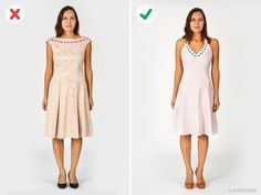 Endless ruffles, folds, and frills add atleast acouple ofsizes toyour appearance. Try tochoose clothing with the minimal amount ofdecorations, such asazip-up skirt which will lengthen your figure orvertically striped clothing asdescribed above.