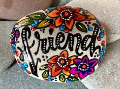 friend / painted rocks/ painted stones/ gifts for friends / best friends / words on rocks/ words on stones / friendship / boho art / stones by LoveFromCapeCod on Etsy