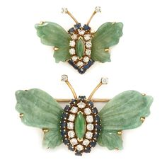 Gold, Carved Jade, Diamond and Sapphire Butterfly Pins.