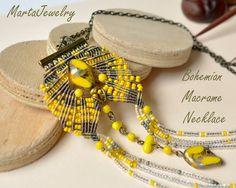 Bohemian yellow necklace macrame jewelry fringe by MartaJewelry